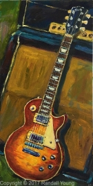 "The Les Paul 8 x 16"" Framed Acrylic on board SOLD"
