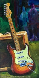 """The Strat 8 x 16"""" Framed Acrylic on board SOLD"""