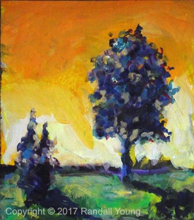 Blue Trees Orange Sky