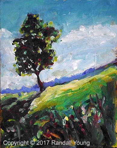 "Lonesome Tree 8 x 6"" Acrylic on board $75"
