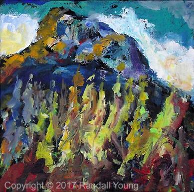 """Mystic Mountain 8 x 8"""" Acrylic on panel $95"""