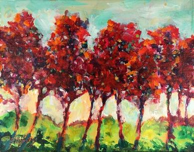 Red Row 7 x 9 Acrylic on panel $95