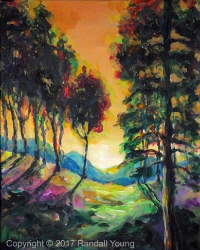 """Tangerine Sky 20 x 16"""" Acrylic on canvas $395"""