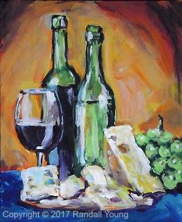 "Wine O'Clock 8 x 10"" Acrylic on panel $115"