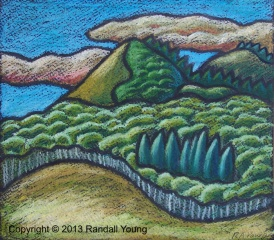 """Foothills 1 10 x 9"""" Oil pastel on paper $85"""
