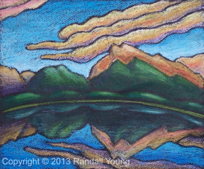 """Rundle Reflection 12 x 10"""" Oil pastel on paper Framed $250"""