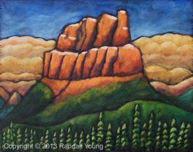 "The Red Castle 20 x 15"" Oil on Panel Framed $575"
